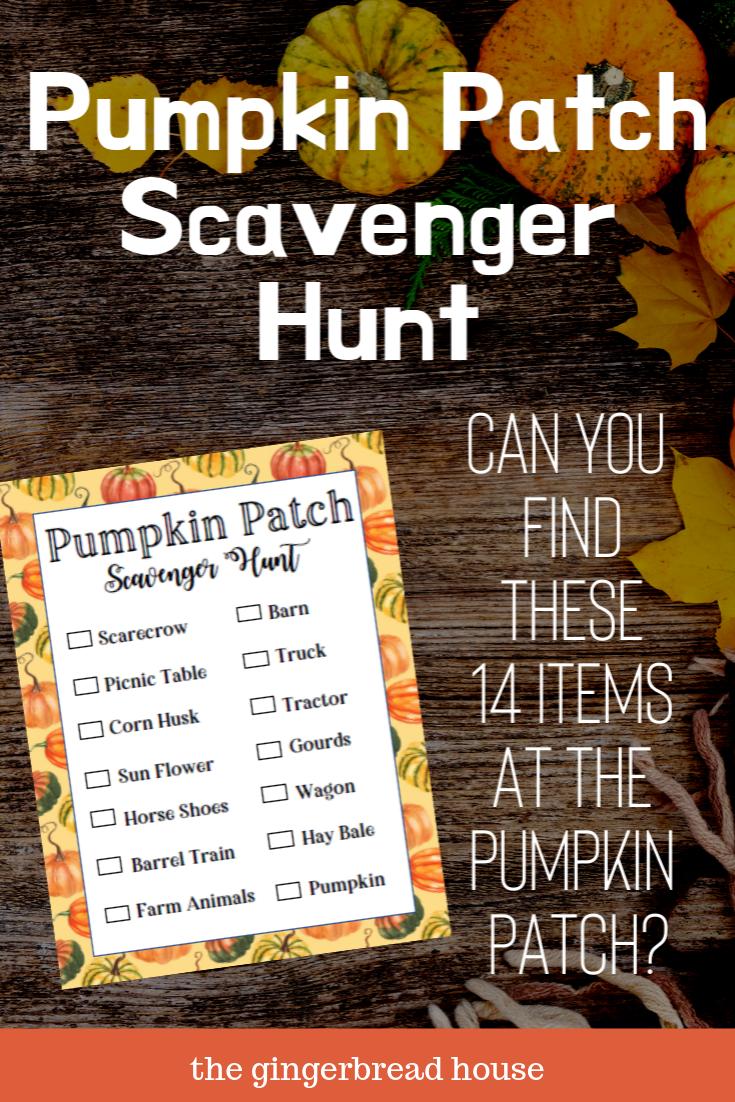 Free Pumpkin Patch Scavenger Hunt printable