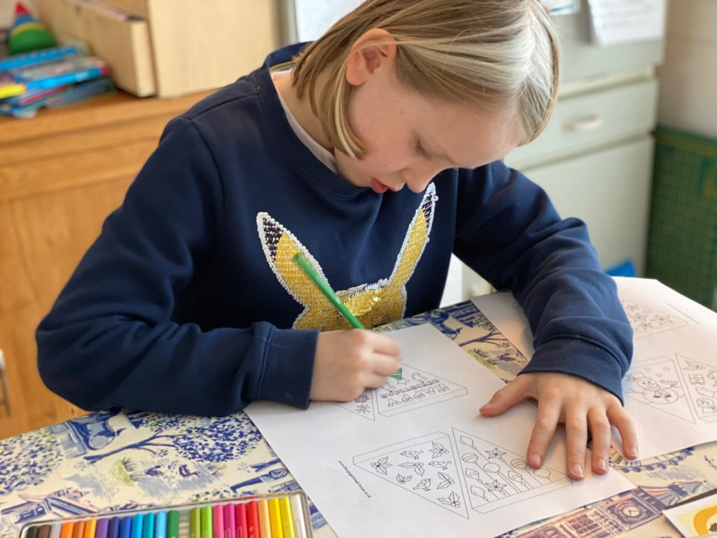 free colour your own Christmas bunting activity for kids