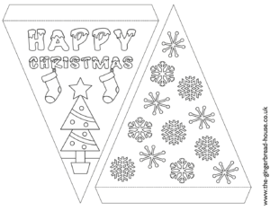 free Christmas bunting to cut and colour