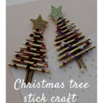 Easy Christmas tree stick craft for kids