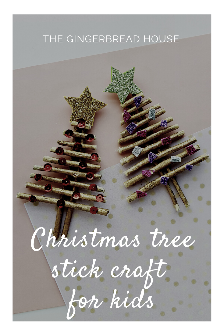 Easy Christmas tree stick craft for kids from the gingerbread house blog