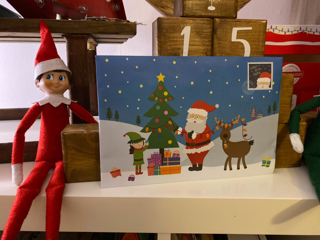 Elf on the Shelf with mail from Santa