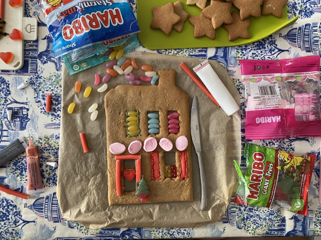 gingerbread house decorated with Haribo