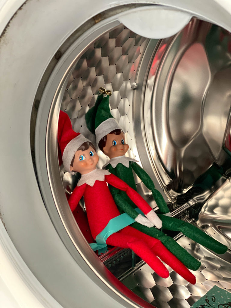 Elf on the Shelf in the washing machine