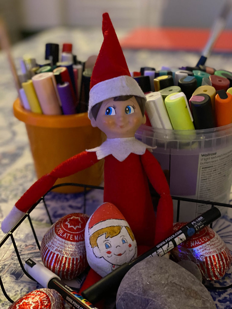 Elf on the Shelf rock painting