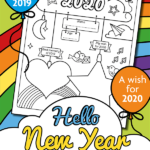 Free printable Happy New Year 2020 colouring page