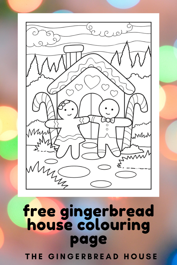 Free Christmas gingerbread house colouring page from the gingerbread house
