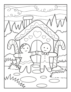 Free Christmas gingerbread house colouring page