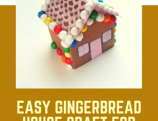Card gingerbread house craft for kids