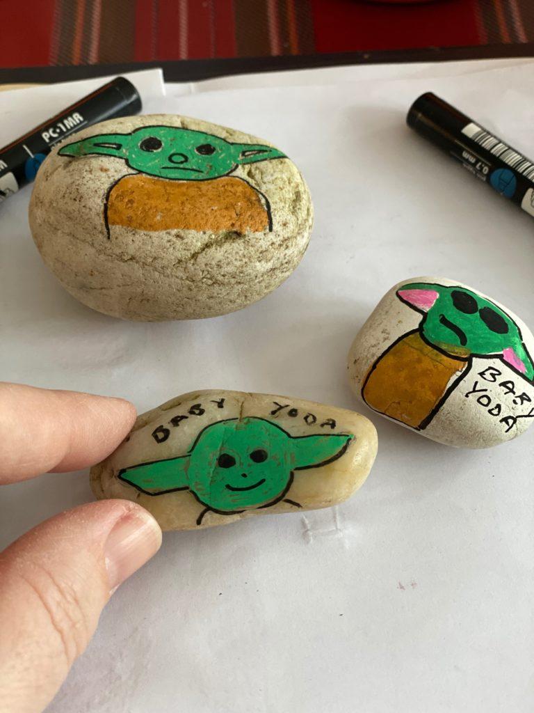 Easy Baby Yoda painted rocks