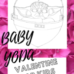 Free Baby Yoda inspired colouring sheet for kids