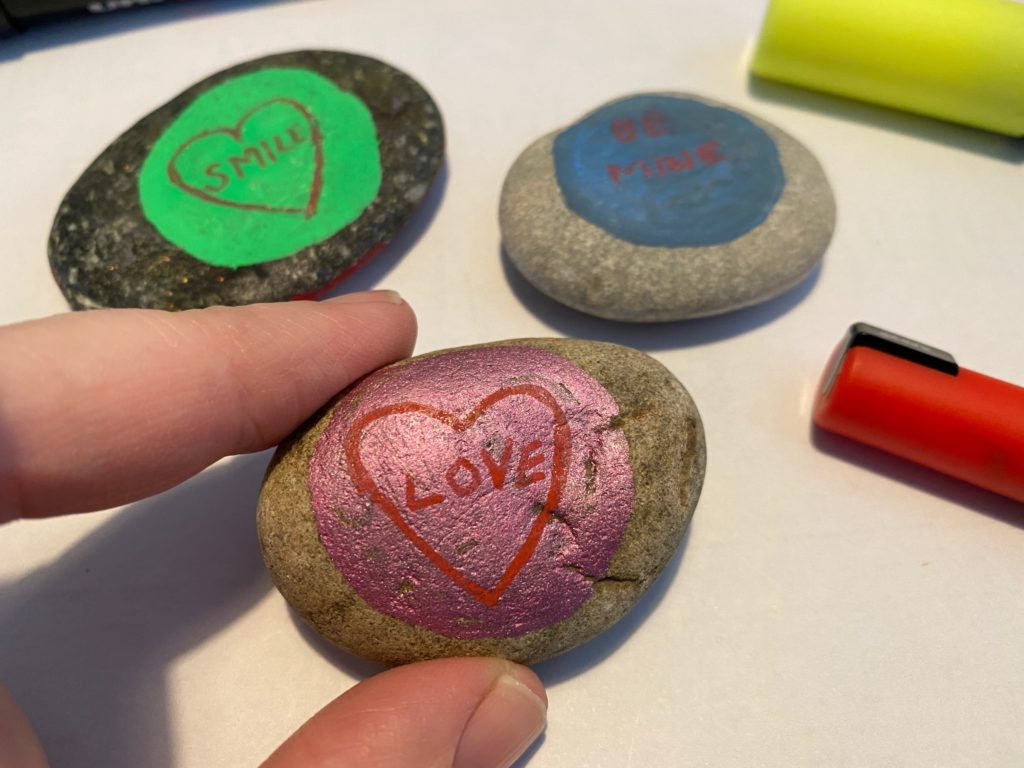 How to make Love Hearts inspired painted rocks