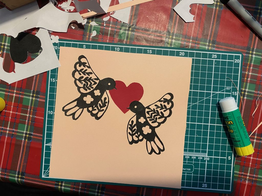 valentine paper cut art