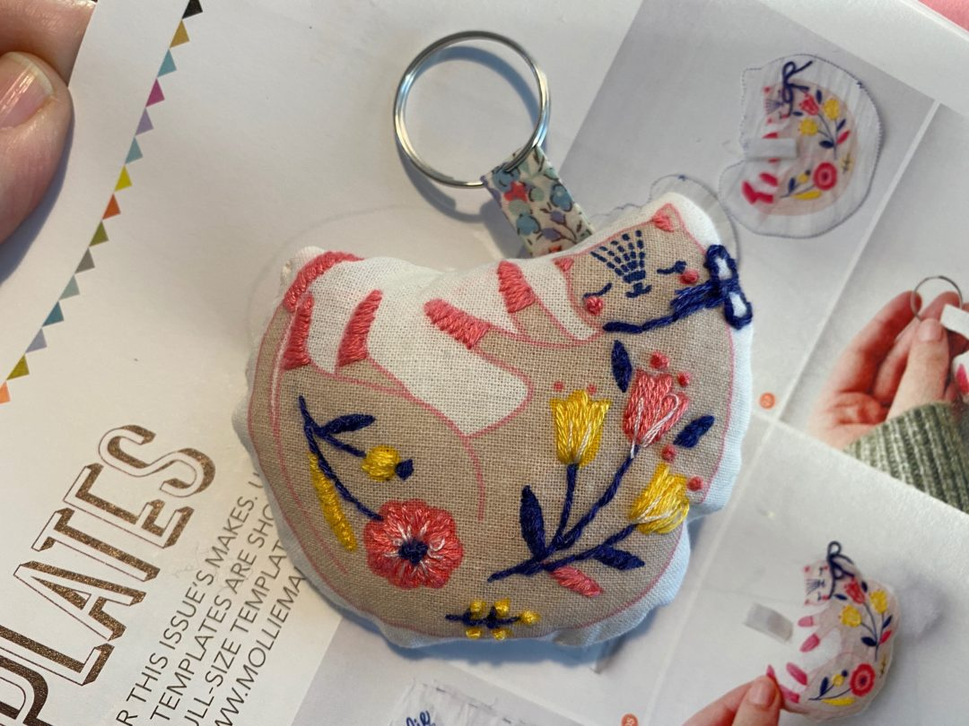 cute Kitty Keyring embroidery