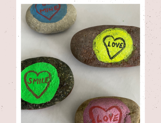 Love Hearts inspired painted rocks