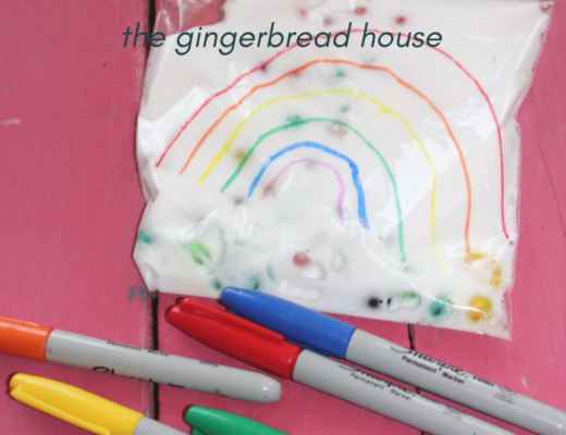 Easy rainbow sensory bag for kids from the gingerbread house