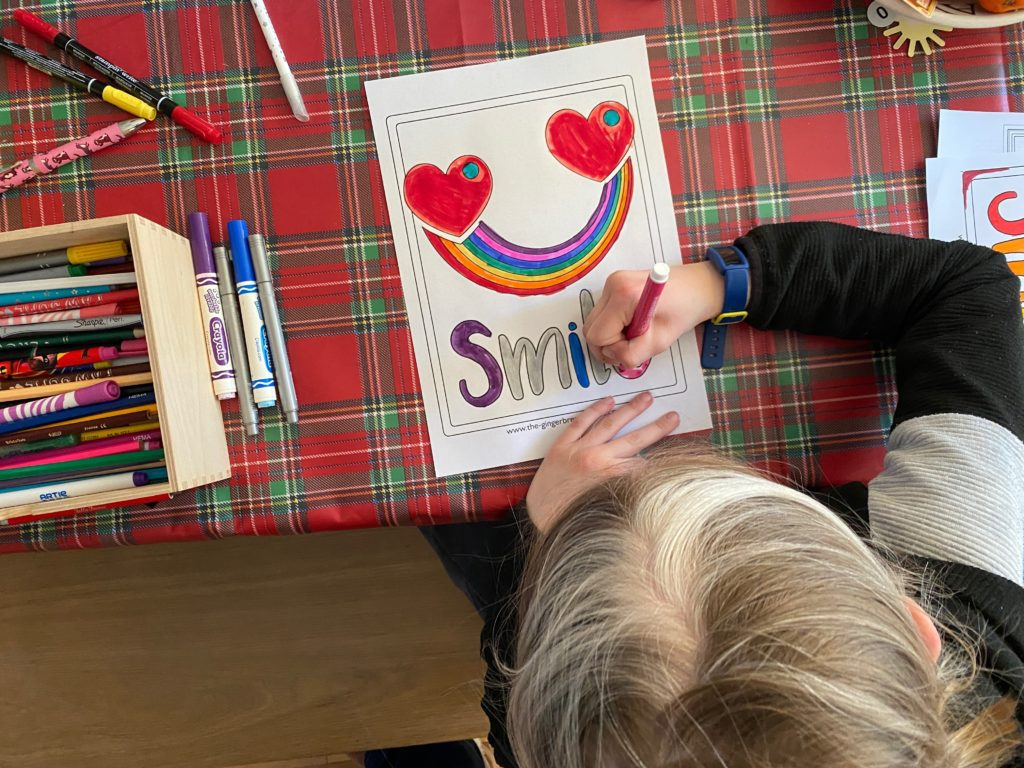 free Rainbow Smile Poster to colour and display