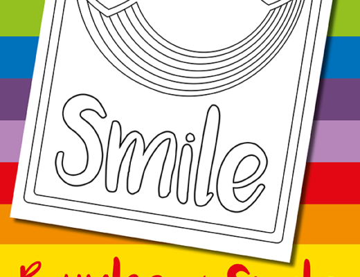 Free rainbow colouring page for kids from the gingerbread house
