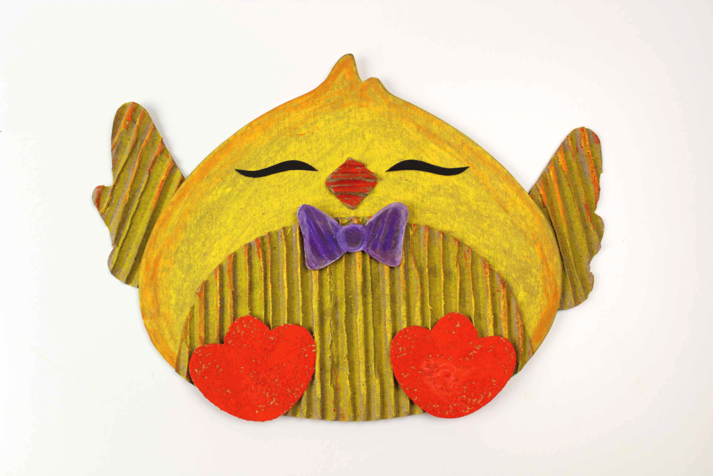 recycled cardboard boy easter chick