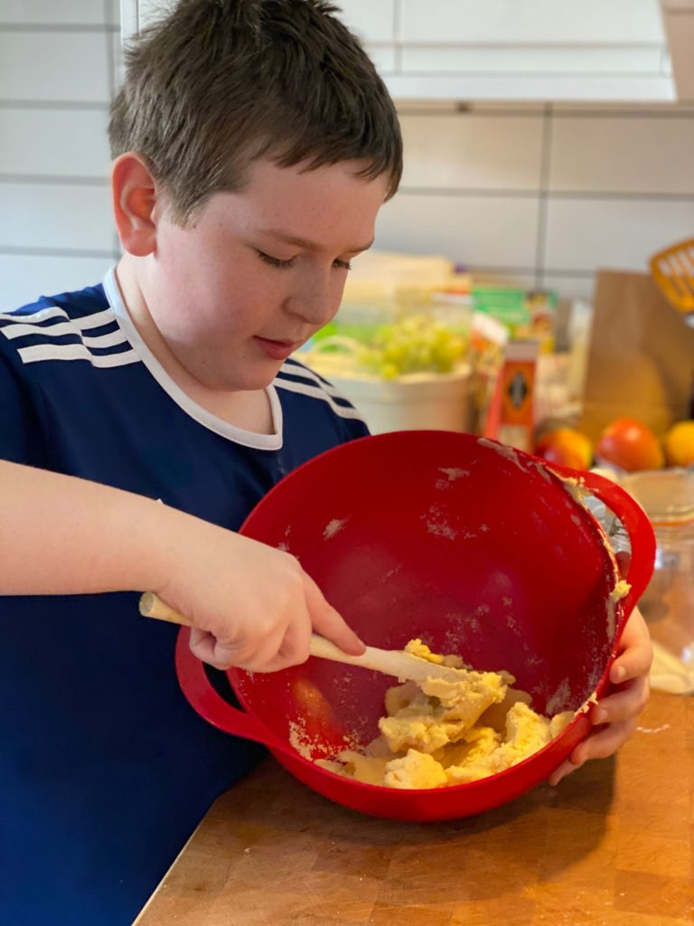 Baking Easter biscuits with kids