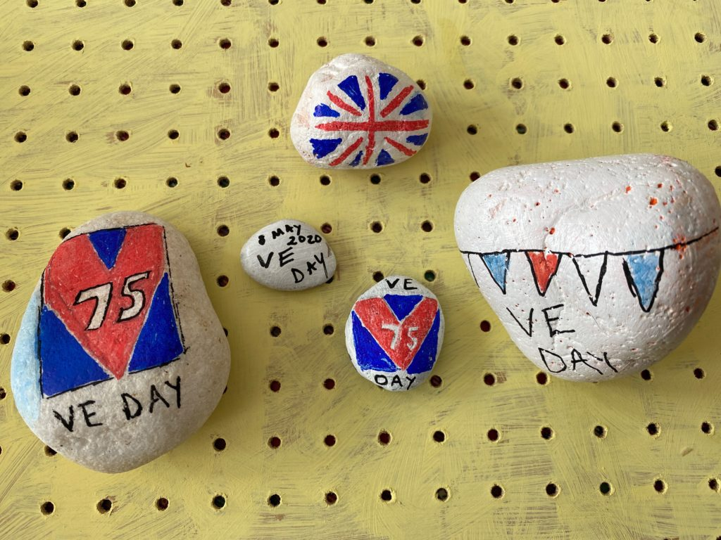 VE Day anniversary painted rocks