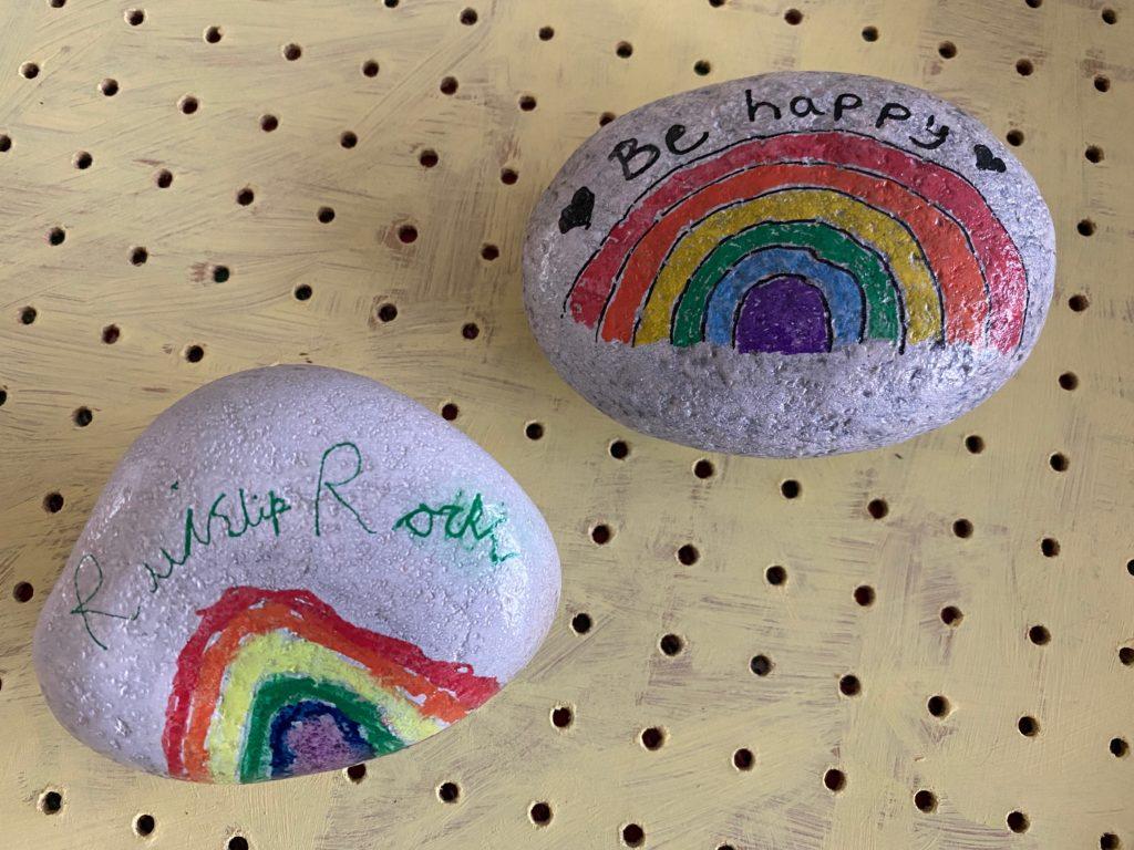 painted rainbow rocks