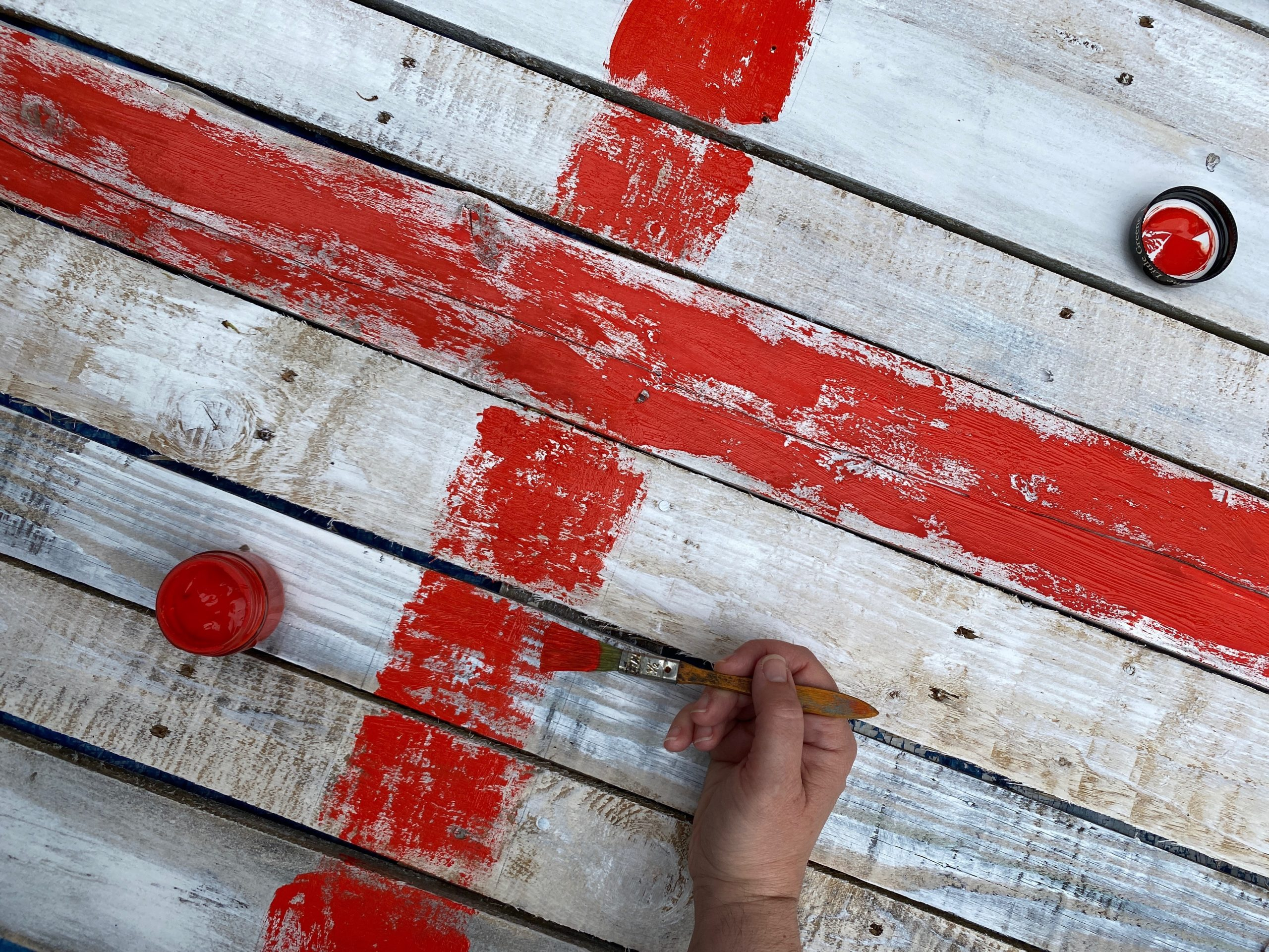 Recycled wooden pallet union flag
