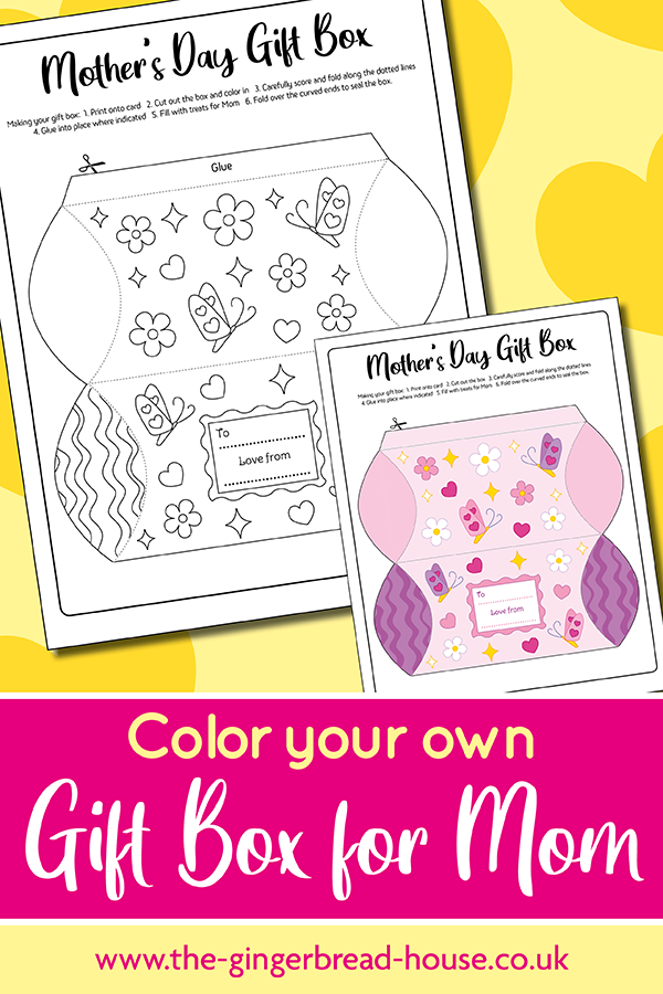 {Free printable} Print and Colour Your Own Gift Box