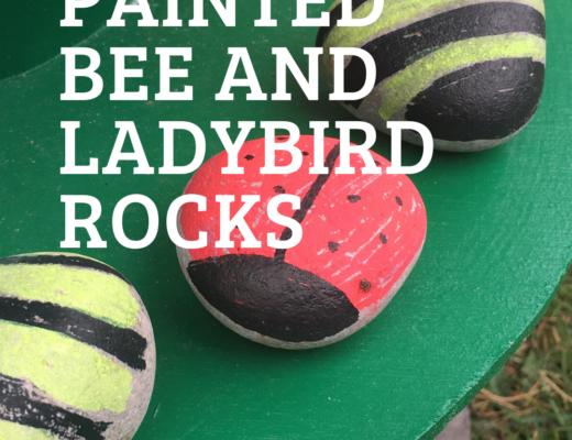 Summer painted bee and ladybird rocks