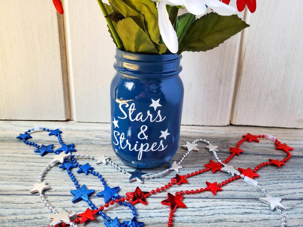 Cricut-made Stars & Stripes Mason Jar craft