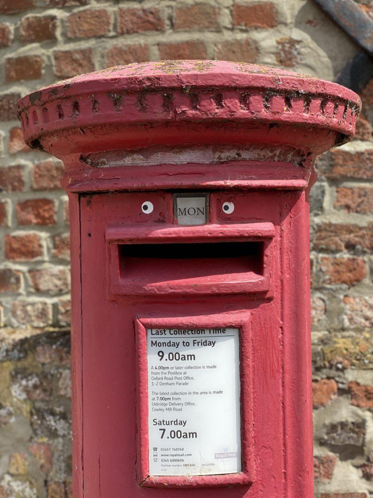 Post Box with eyes in Denham