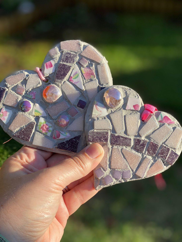 simple mosaic hearts