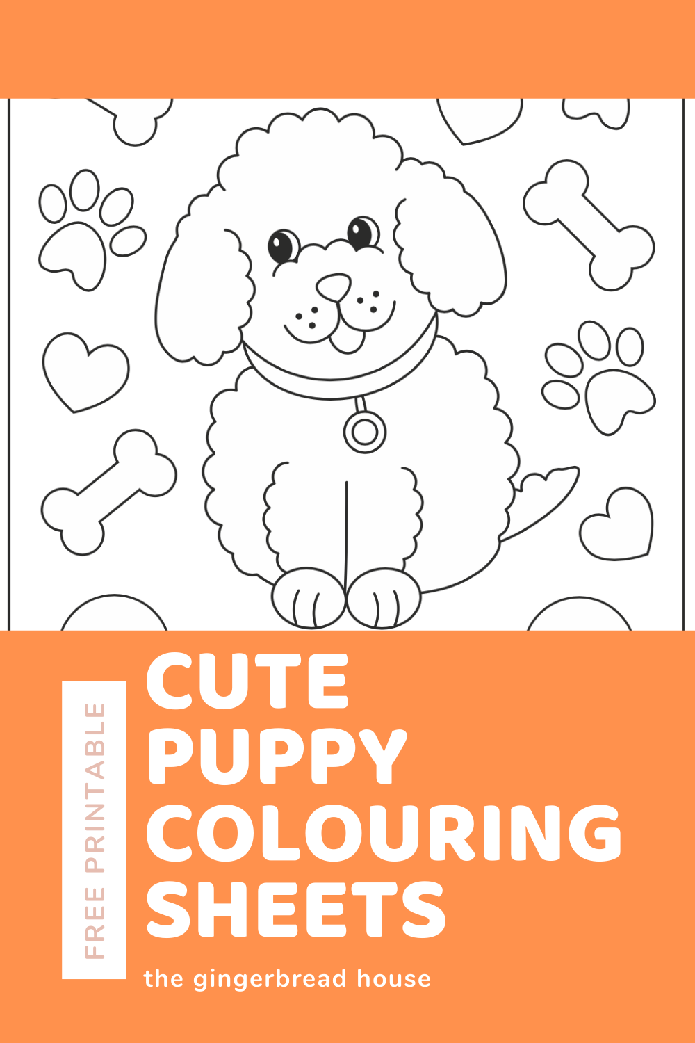 Free puppy colouring sheets - the gingerbread house
