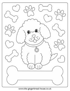 puppy colouring sheet bone