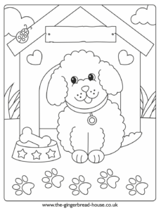 puppy colouring sheet kennel