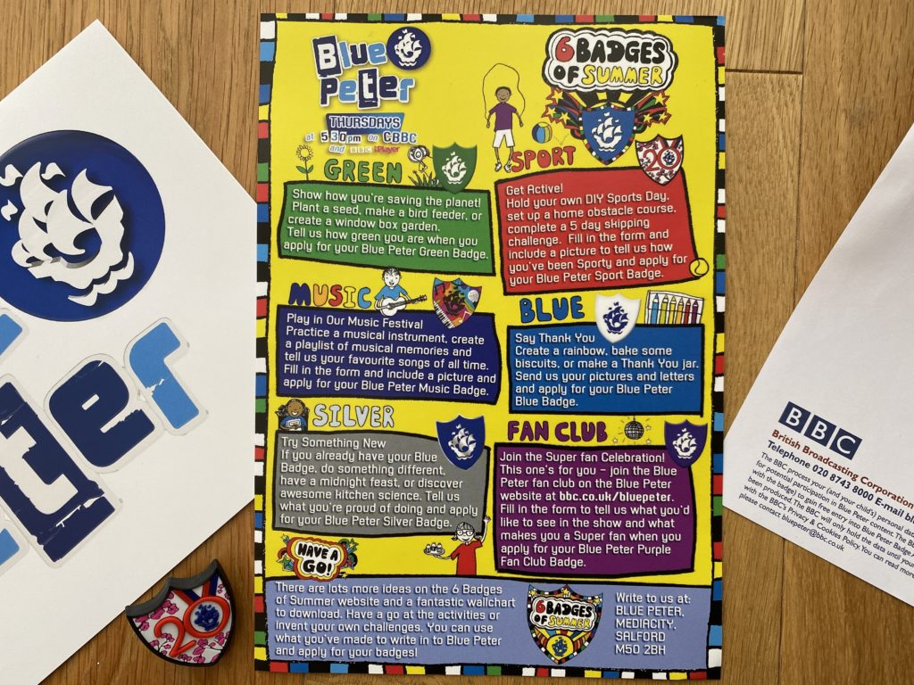 apply for free Blue Peter badges