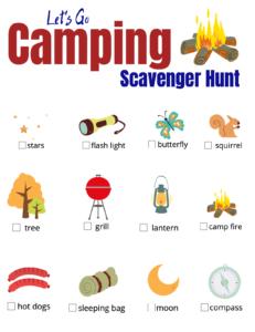 Free camping scavenger hunt printable