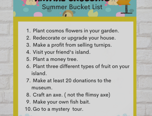 Free Animal Crossing Summer Bucket List printable