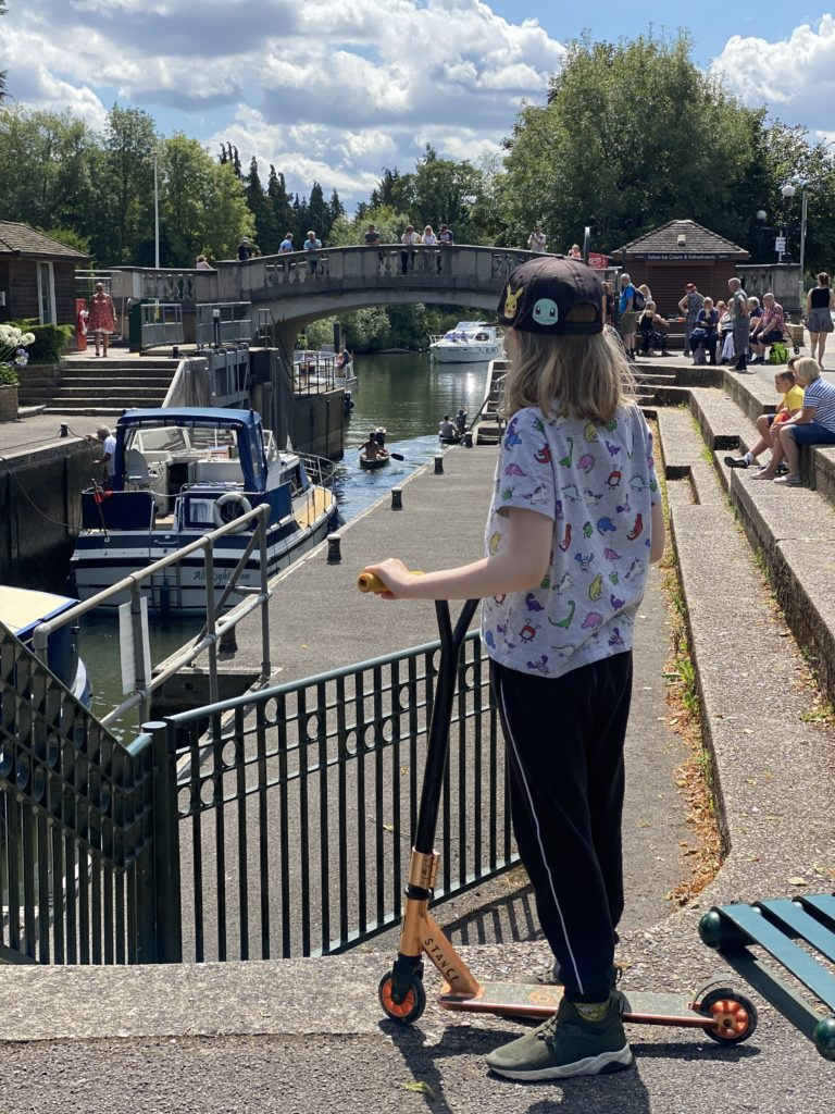 watching the boats pass through Boulters Lock