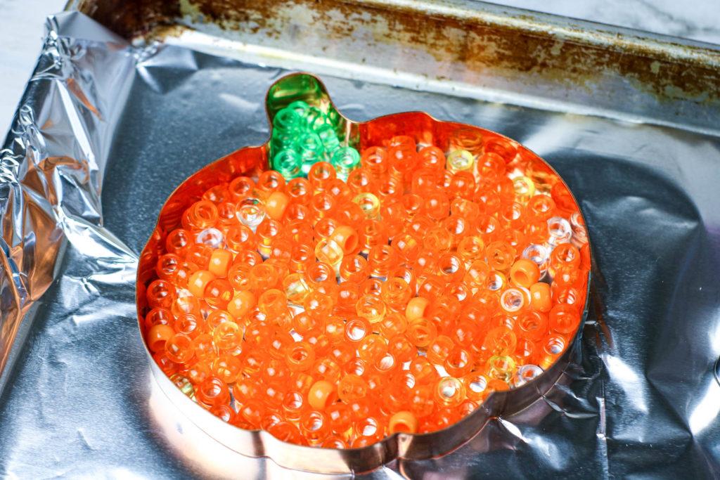 Melted Pony Bead Pumpkins suncatcher