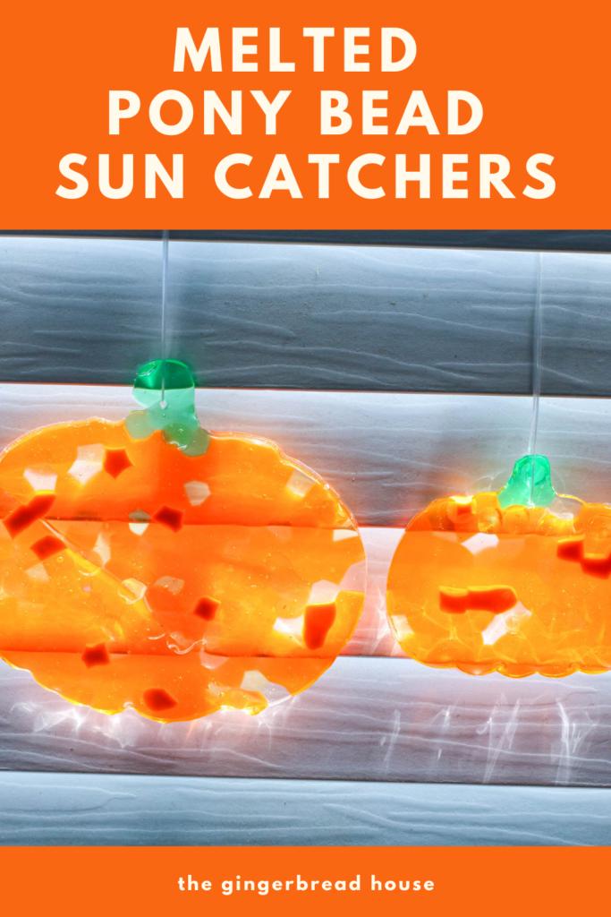 Melted Pony Bead Pumpkin suncatcher