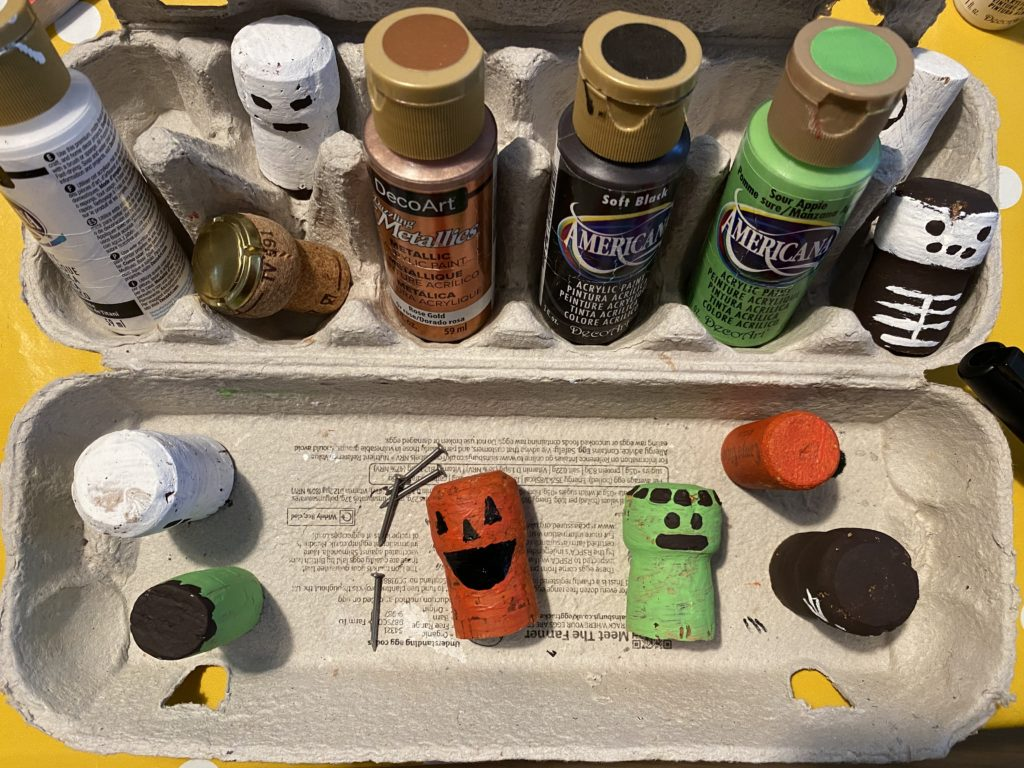 simple Halloween painted cork craft for kids