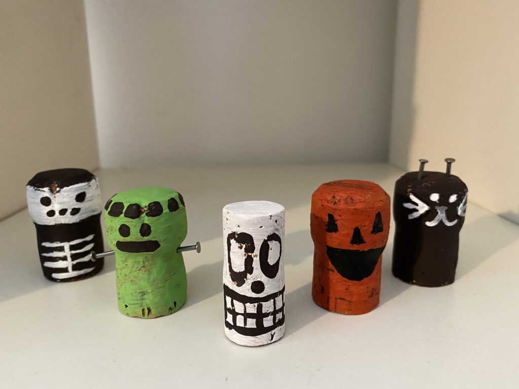 selection of painted Halloween corks