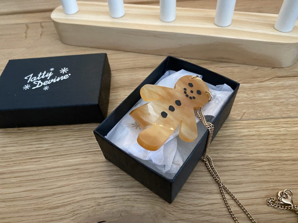 Tatty Devine gingerbread man necklace from the Wonderland collection