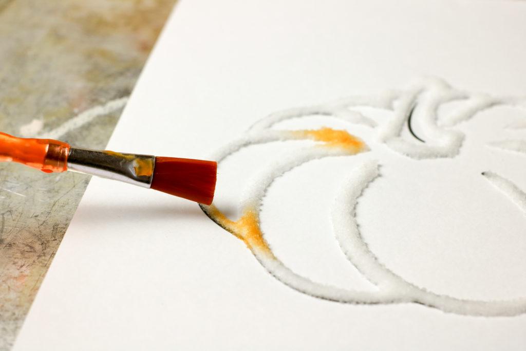 Easy salt painted pumpkin craft