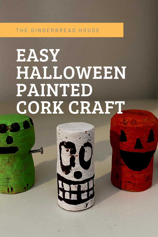 Easy Halloween painted cork craft