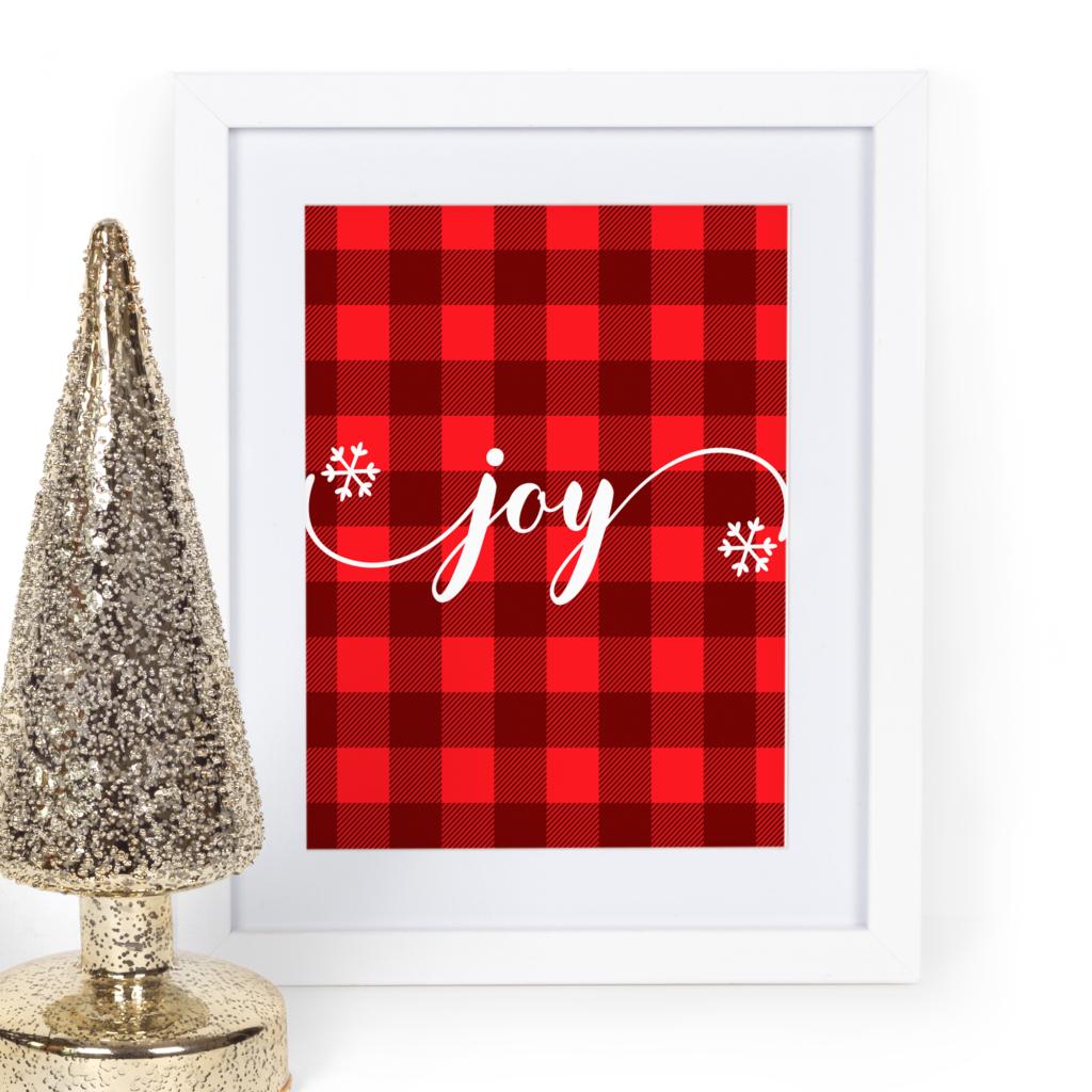 {Free printable} Christmas plaid wall art