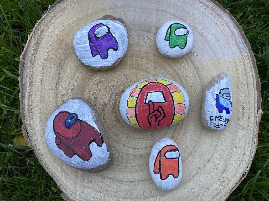 easy Among Us painted rocks