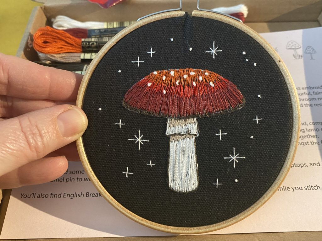 Fly Algaric toadstool embroidery
