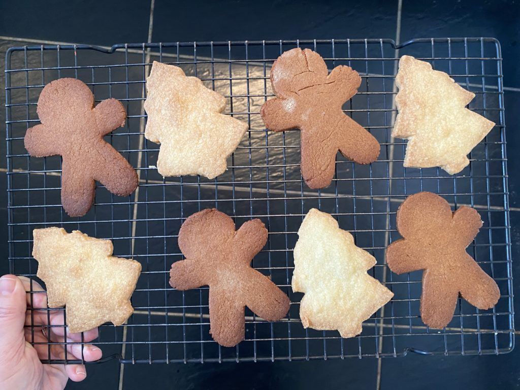 Baking edible gingerbread decorations for Christmas